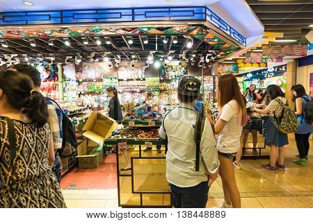 HONG KONG-OCT 23:Tourists and local residents are shopping inside The Peak Tower on october 23 2015 in Hong Kong. The Peak is the most popular attraction in Hong Kong provides magnificent view of the city.