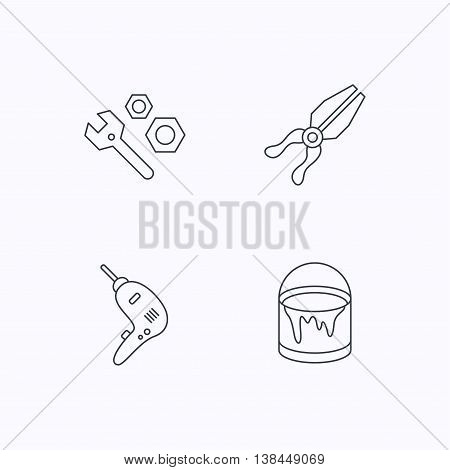Wrench tool, pliers and drill icons. Bucket of paint linear signs. Flat linear icons on white background. Vector
