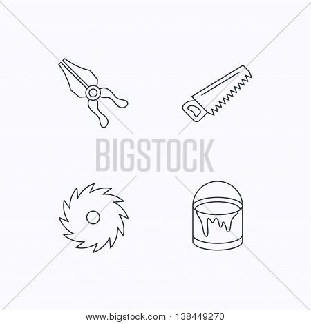 Pliers, circular saw and bucket of paint icons. Saw linear signs. Flat linear icons on white background. Vector