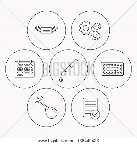 Medical mask, contraception and pipette icons. Clyster linear sign. Check file, calendar and cogwheel icons. Vector