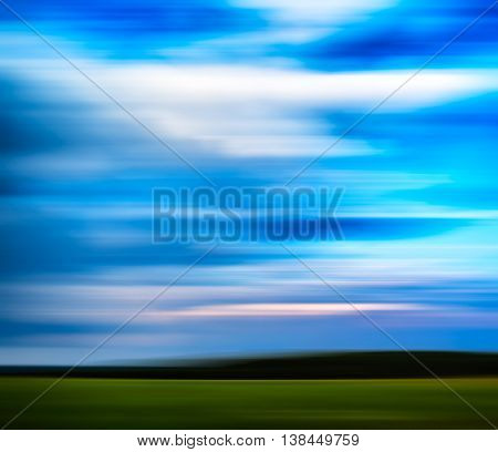 Horizontal vivid motion blur abstract landscape background