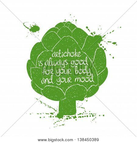 Hand drawn illustration of isolated green artichoke silhouette on a white background. Typography poster with creative poetic quote inside - artichoke is always good for your body and your mood.
