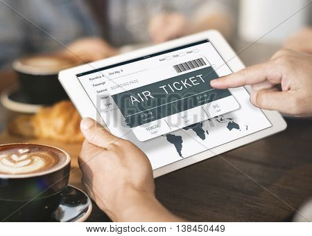 Booking Ticket Online Flight Travel Concept