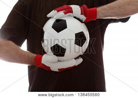 soccer player with leather ball and brown shirt