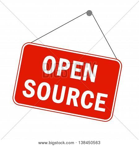 Open source software concept. Announcement sign like in a store in red and white colors.