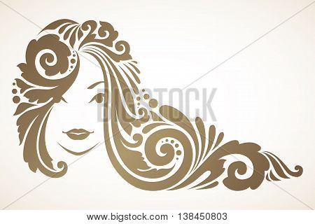 Girl with ornamental decorative hair. Vector illustration
