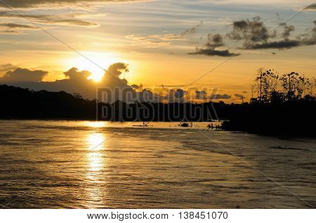 South America Amazonas landscape. The photo present Sunset on the Amazon in Brazil