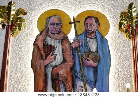 ZAGREB, CROATIA - JANUARY 31: St. James and St. Philip on tha altar of the church of Saint Blaise in Zagreb, Croatia on January 31, 2015