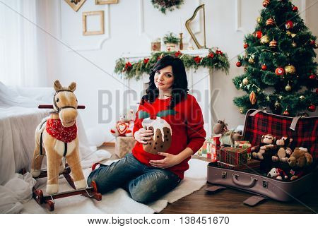 Beauty Pregnant Woman . Pregnant Belly. Beautiful Pregnant Woman Expecting Baby in Christmas