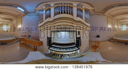 CLUJ-NAPOCA, ROMANIA - March 13: 360 panorama of a pipe organ made by Samuel Maetz rebuilt and used in the Gheorghe Dima Music Academy on March 13th, 2016, in Cluj-Napoca, Transylvania, Romania.