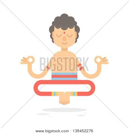 Flat meditating cartoon yogi character in lotus pose wearing Indian clothes isolated on white background