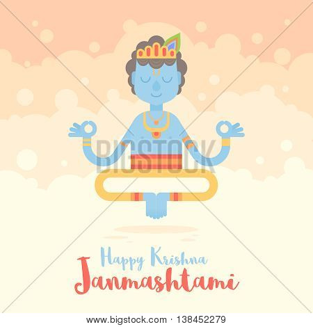 Hindu God Krishna cartoon character for the Janmashtami holy Indian Holiday. Congratulation celebration card
