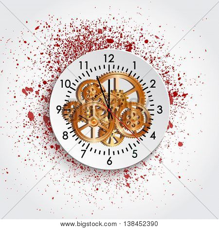 time clock mechanism and blot vector illustration