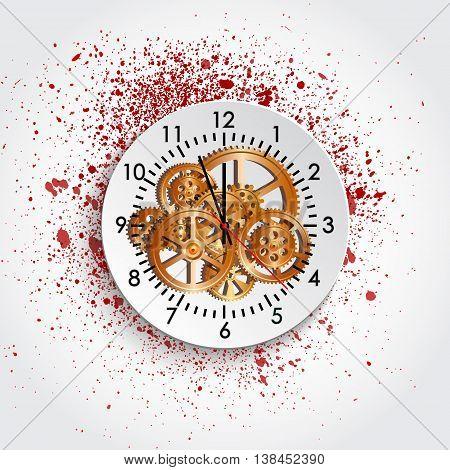 time clock mechanism and blot vector illustration