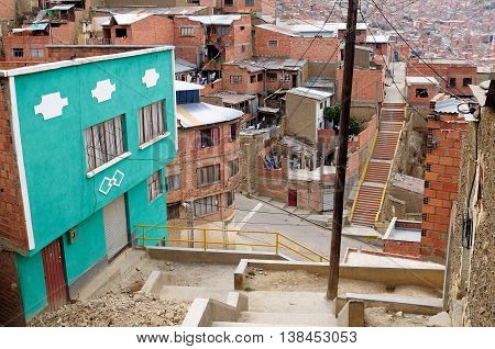 South America La Paz - the governmental capital of Bolivia. The city's building cling to the sides of the canyon and spill spectaculary downwards