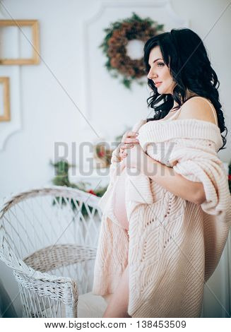 Beauty Pregnant Woman . Pregnant Belly. Beautiful Pregnant Woman Expecting Baby