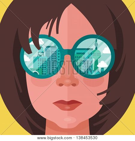 Woman with glasses and city reflection. Flat style modern vector illustration