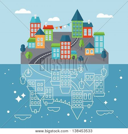 Small town or village on island with reflection in sea. Flat style icons vector illustration