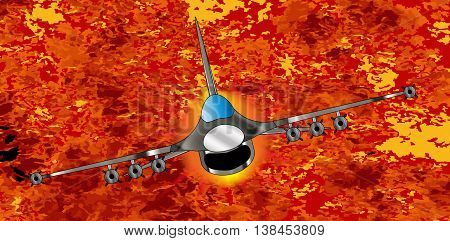 A jet fighter zooming away from the explosion and flames