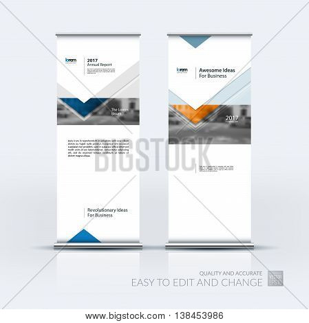 Vector set of modern roll up banner stand design with arrows, triangles with overlap effect for business with construction, building and modern concept. Corporate vector vertical flyer.