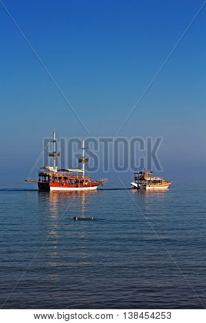 Turkish Gulet cruise boats in the early morning sun
