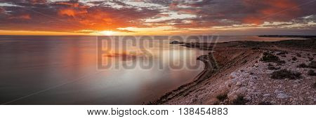 Eagle Bluff, Shark Bay, Western Australia Sunset Panoramic
