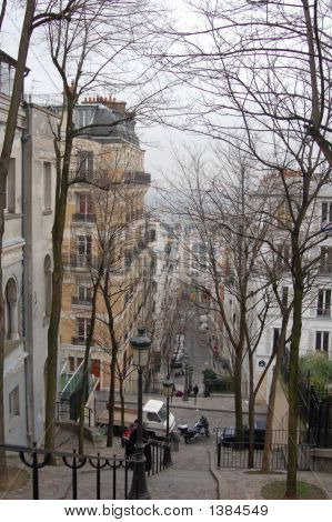 View of Stairs in montmartre Paris