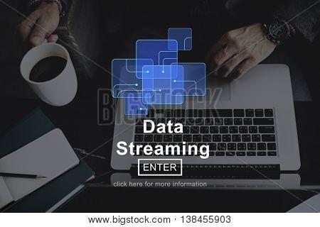 Data Streaming Online Technology Website Concept