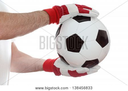 big classical soccer ball on white background