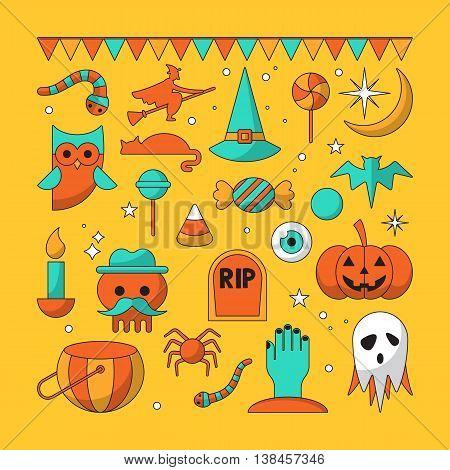 Halloween thin line modern icons. Vector illustration