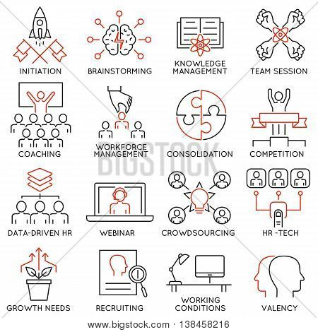 Vector set of 16 linear thin icons related to striving for success leadership development career progress and personal training. Mono line pictograms and infographics design elements - part 2