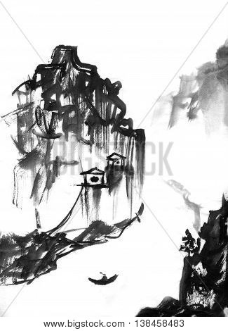 Japanese mountain landscape hand-drawn with ink in traditional Japanese painting style sumi-e. Contains hieroglyph - happiness joy