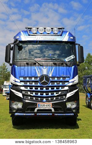 PORVOO, FINLAND - JULY 2, 2016: Mercedes-Benz Arocs 3293 of Kuljetus J Kohonen on Riverside Truck Meeting 2016.
