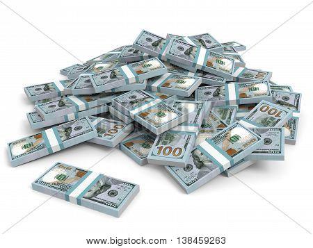 Money Heap. New One Hundred Dollars.