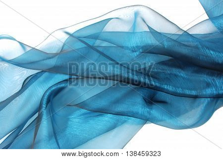 close up of the wavy blue organza fabric