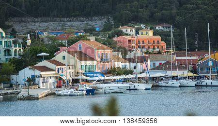 Scenic View Of The Port In Fiscardo, Kefalonia, Greece