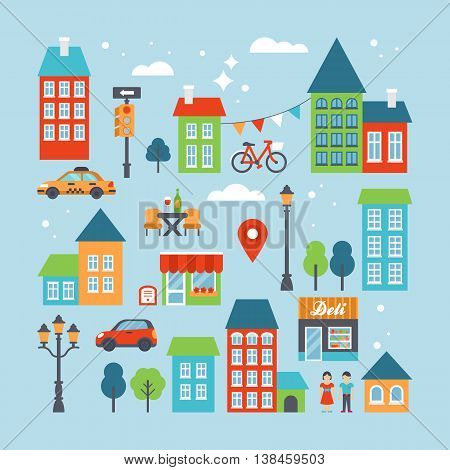 City and town flat icons set for infographic template design. Vector illustration