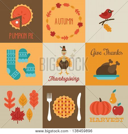 Thanksgiving and autumn greeting cards design with flat stylish icons. Vector illustration