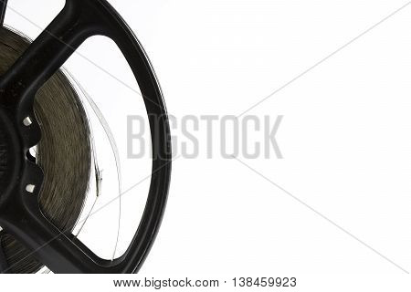 Vintage Film Strip and Reel Hollywood On white background