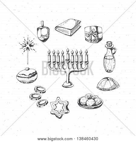 Hanukkah holiday symbols for design. Hand drawing vector