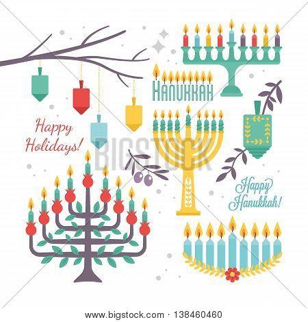 Hanukkah holiday flat decorative elements for design. Vector illustration