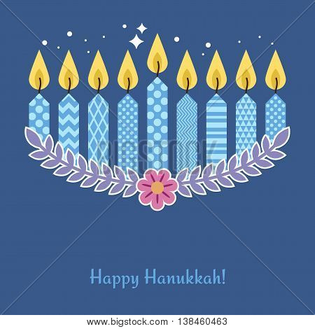 Modern Hanukkah greeting card design. Vector illustration