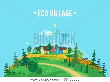 Vector flat illustrations - Eco village. Abstract forest. Wildlife. Forest view. Ecosystem. Agro-tourism.