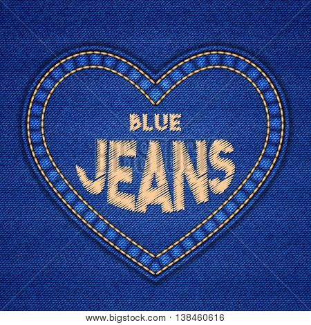 Heart shaped patch with embroidered text message on denim background. Vector illustration