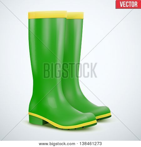 Green Garden rubber high boots. Work in the garden or at the cottage. Editable Vector illustration Isolated on background.