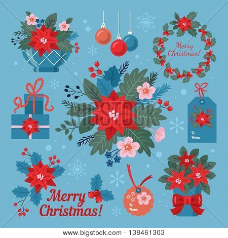 Christmas flower poinsettia decorative elements set for design. Vector illustration