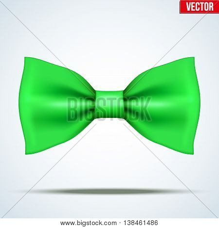Realistic silk green bow tie. Fashion and trendy symbol. Editable Vector illustration Isolated on background.