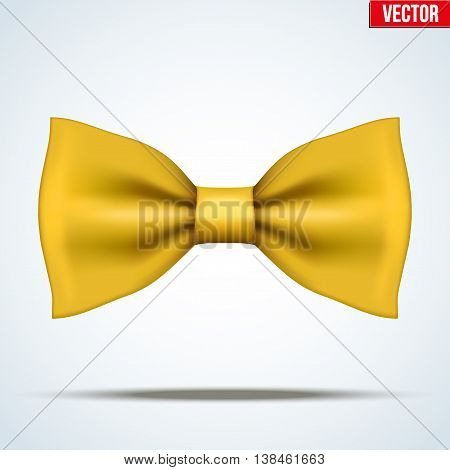 Realistic silk yellow bow tie. Fashion and trendy symbol. Editable Vector illustration Isolated on background.