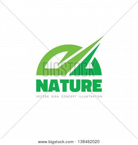 Nature - vector logo template concept illustration. Abstract green shape with sharp design elements.