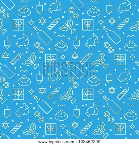Hanukkah seamless pattern modern linear art design. Vector illustration